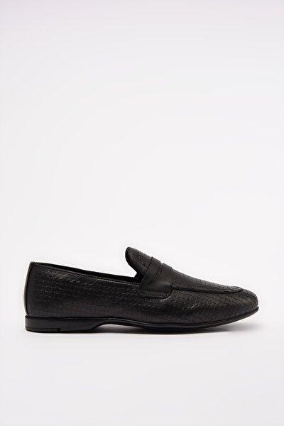 Hakiki Deri Siyah Erkek Loafer Ayakkabı 02AYH206300A100