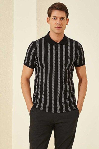 Desenli Polo Yaka Siyah-Beyaz Erkek Tshirt T08ER-87805_1