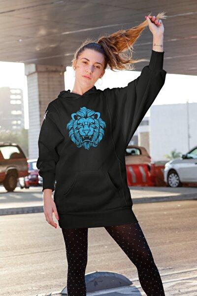 Wear Kızgın Aslan Siyah Elbise Sweatshirt Tunik
