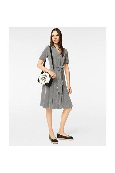 Kadın Siyah Gömlek Yaka Elbise