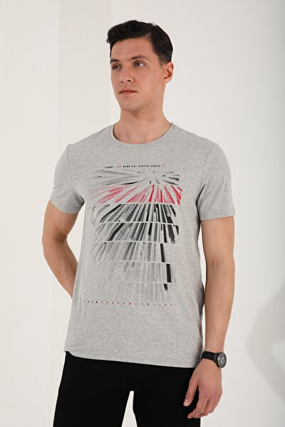 Erkek Gri Melanj  Eskitme Çift Renk Desen Baskılı Rahat Form O Yaka T-shirt - 87959