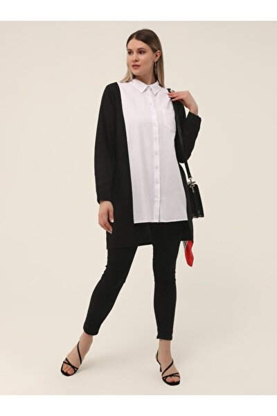 Büyük Beden Arkası Uzun Iki Renkli Tunik - Siyah Beyaz -