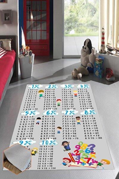K387 Çarpım Tablosu Erkek Dekoratif Yıkanabilir Halı Çocuk Odası