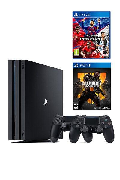 Playstation 4 Pro 1 TB + 2. PS4 Kol + PS4 Pes 2020 + PS4 COD Black Ops 4