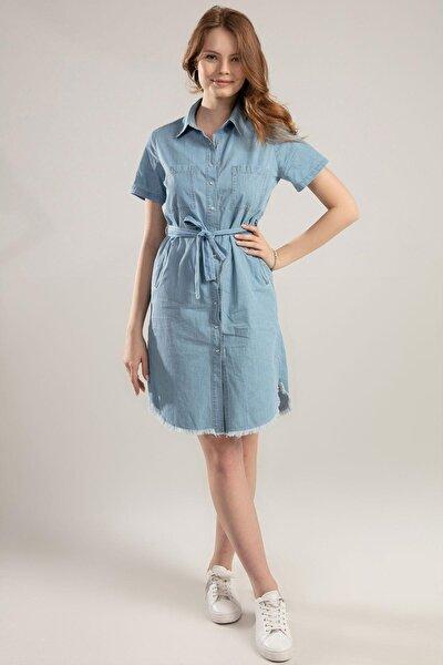 Kadın Kuşaklı Kısa Kollu Kot Elbise Y20s110-5641