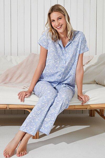 Mavi Leofloral Gömlek Pantolon Takımı