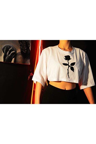 Gül Baskılı Crop Spor T-shirt