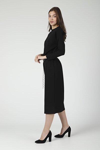 Kadın Uzun Siyah Örme Elbise