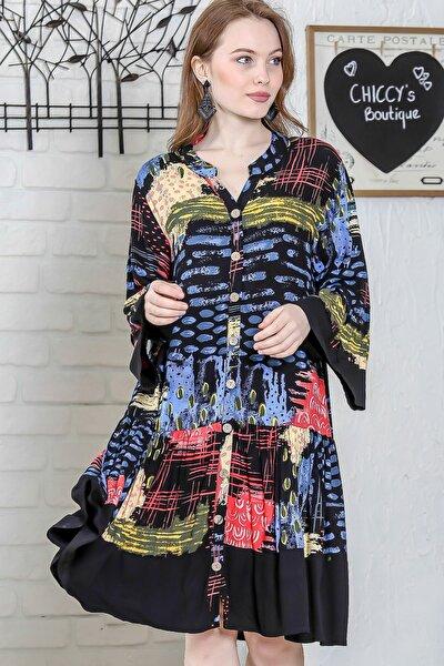Kadın Siyah Sıfır Yaka Düğme Detaylı Kol Volanlı Siyah Bloklu Salaş Elbise M10160000EL95234