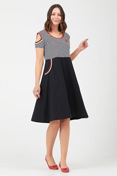 Kadın Pencere Kol Marine Elbise - Siyah
