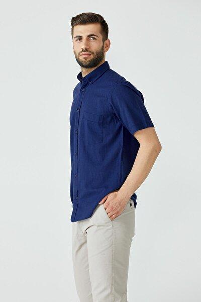 Erkek Düz Kısa Kol Gömlek - Lacivert