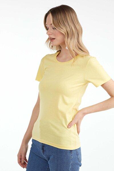 Sıfır Yaka Kadın Basic T.shirt - Sarı