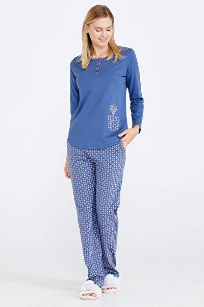 Kadın Desenli Pijama Takımı - Indigo
