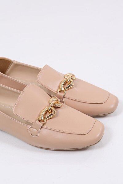 Kadın Pembe Metal Tokalı Loafer Ayakkabı