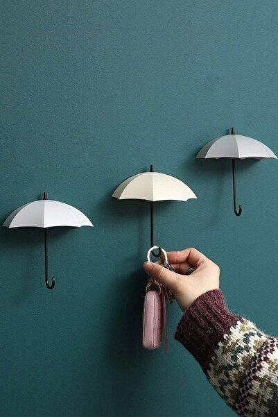 Dekoratif Şemsiye Tasarımlı Askılık 4'lü Set Yapışkanlı Pratik Askı Takı Anahtar Aksesuar Askısı