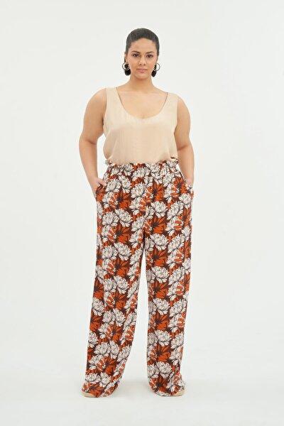 Kadın Turuncu Yüksek Bel Pantolon