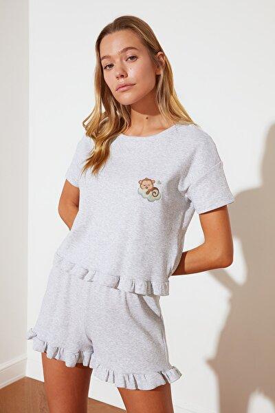 Gri Nakışlı Örme Pijama Takımı THMSS21PT0758