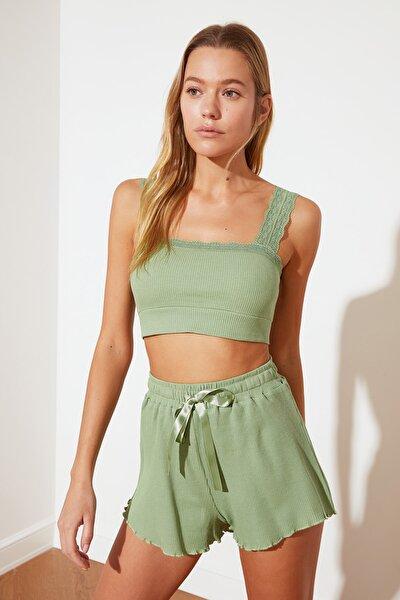 Yeşil Dantel Detaylı Örme Pijama Takımı THMSS21PT0576