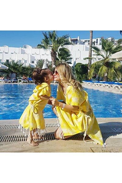 Sarı Renk Ananas Desen Anne Çocuk Kombini