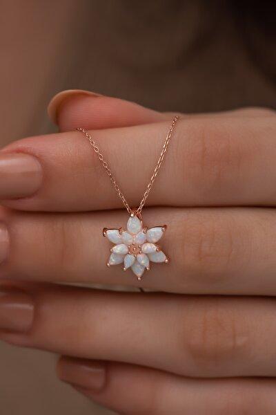 925 Ayar Gümüş Beyaz Doğal Opal Taşlı Lotus Kolye