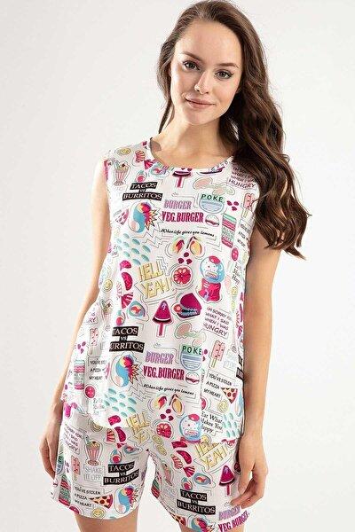 Patttaya Kadın Baskılı Şortlu Pijama Takımı Y20s110-6478