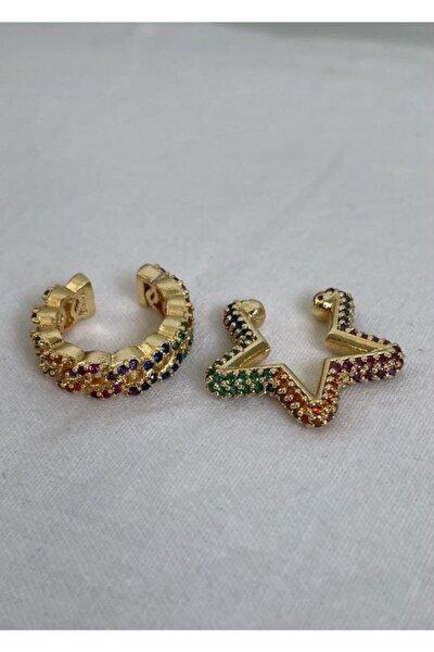 Gold Renk Zirkon Taşlı Yıldız Earcuff Set