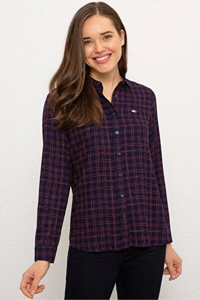 Lacivert Kadın Dokuma Gömlek