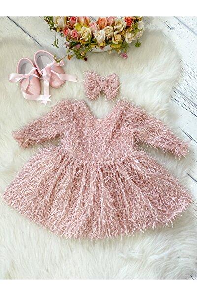 Pudra Püsküllü Kız Özel Gün Elbisesi