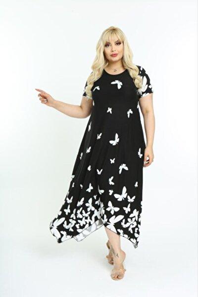 Kadın Siyah Asimetrik Kesim Desenli Büyük Beden Elbise