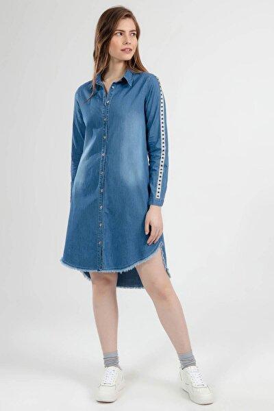 Kadın Yıldız Sim Şeritli Püskül Detaylı Kot Gömlek Elbise 5632