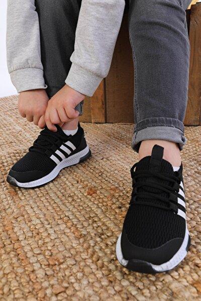 Yazlık Hafif Unisex Çocuk Sneaker Siyah - Beyaz