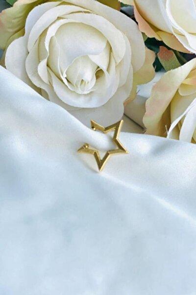 Kadın Gold Renk Sıkıştırılmalı Yıldız Kıkırdak Küpe