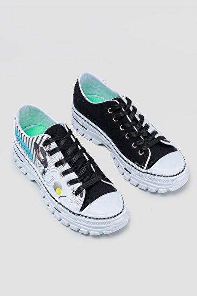 Kadın  Nell Siyah Baskı Detaylı Bağcıklı Sneakers