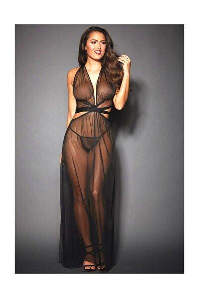 Kadın Siyah Erotik Tül Fantezi Elbise
