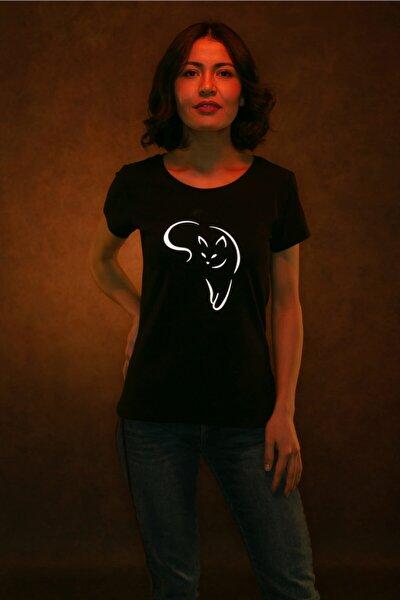 Kadın Kedi Baskılı Reflektörlü T-shirt