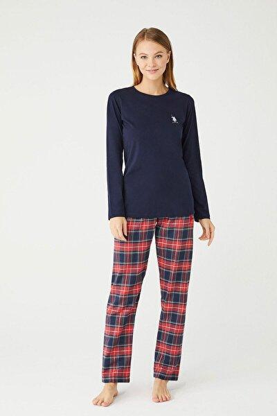Kadın Lacivert Yuvarlak Yaka Pijama Takım