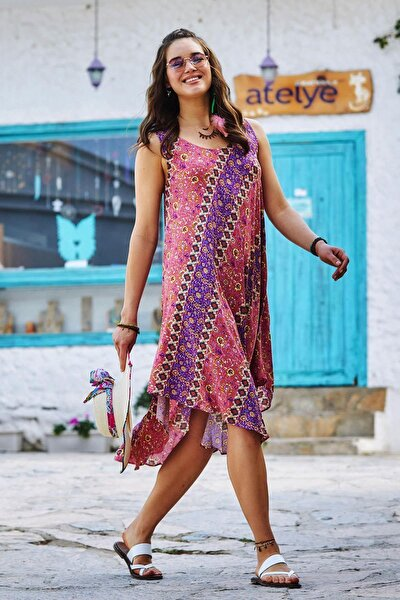 Kadın Kayık Yaka Kolsuz Günlük Elbise