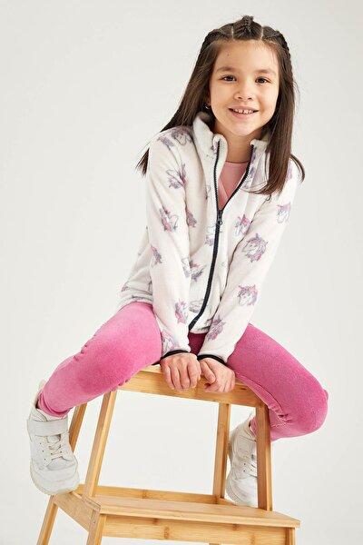 Kız Çocuk Ekru Unicorn Desenli Dik Yaka Polar Hırka