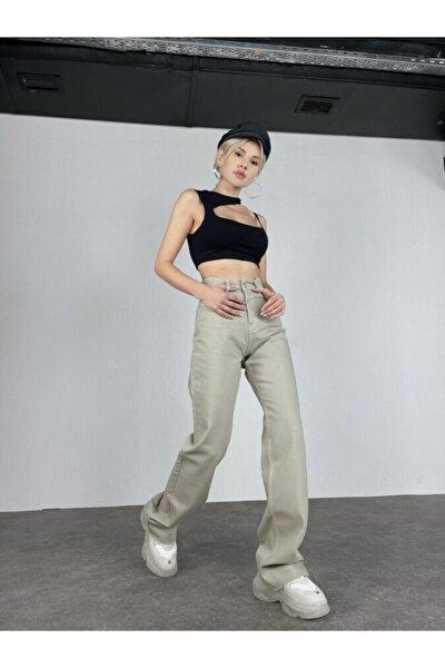 Kadın Haki Slim Flare Yüksek Bel Partey Jean