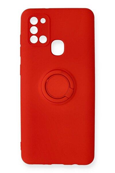 Samsung Galaxy A21s Kılıf Viktor Yüzüklü Silikon - Kırmızı