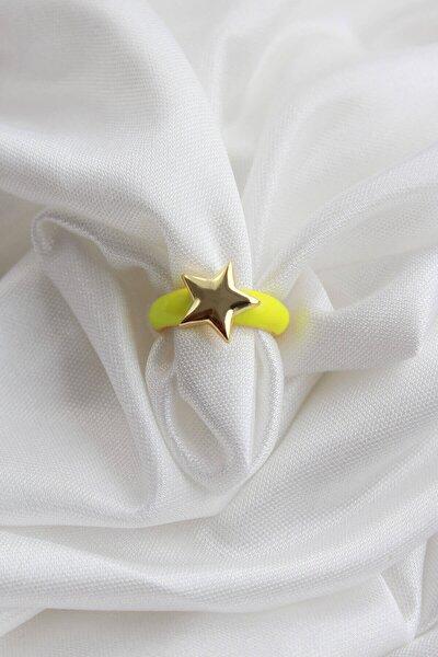 Kadın Neon Sarı Ayarlanabilir Gold Yıldız Yüzük