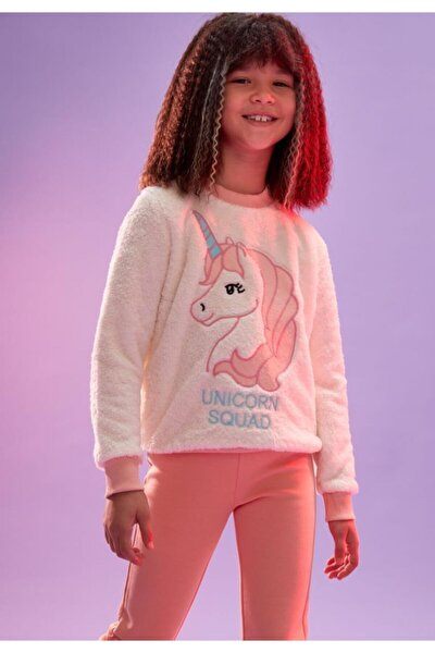 Kız Çocuk Unicorn Nakışlı Peluş Sweatshirt