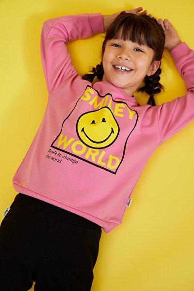 Kız Çocuk Smileyworld Lisanslı Crop Sweatshirt