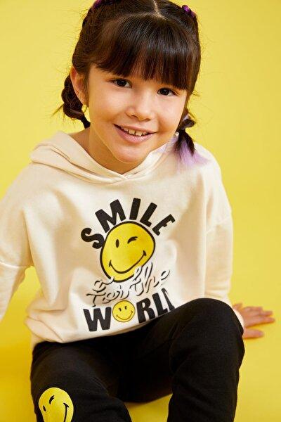Kız Çocuk Smileyworld Lisanslı Kapüşonlu Crop Sweatshirt