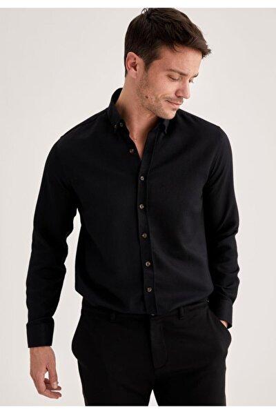 Erkek Black Red Modern Fit Uzun Kollu Basic Gömlek T4552AZ21SP