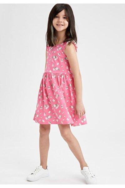 Kız Çocuk Çiçek Desenli Kolsuz Elbise T2577A621SM