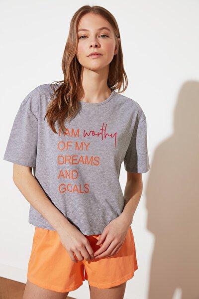Gri Baskılı Örme Pijama Takımı THMSS21PT0735