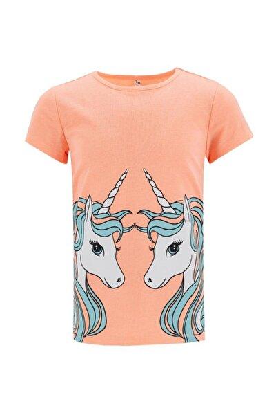 Kız Çocuk Unicorn Baskılı Kısa Kol Tişört
