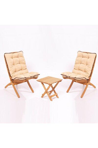 Minderli Bahçe Balkon 2+1 Katlanabilir Masa Sandalye Seti