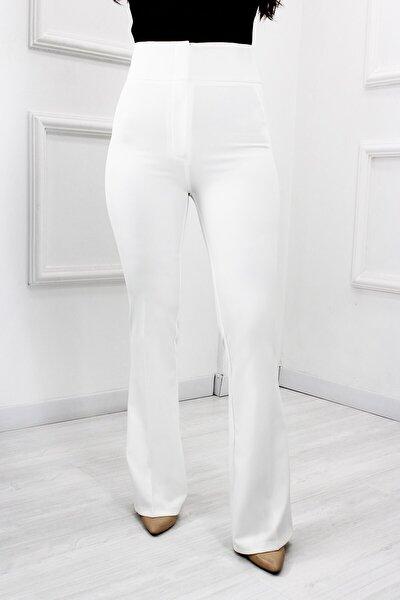 Kadın Beyaz Yüksek Bel İspanyol Paça Pantolon